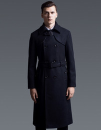 Mens belted trench coat online shopping - Mens Trench Long Windbreaker Solid Color Mens Large Size Autumn Winter New Double Breasted Coat Long Wool Coat Men Trench Coat Men S XL