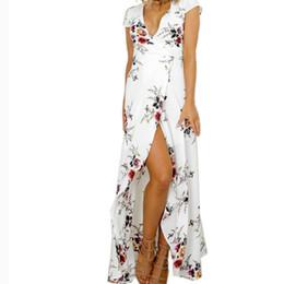 Fit Flare Dress White Australia - Boho Beach White Summer Long Dress Women's Clothing White Flower Printed Dress Sexy V Neck Split Fit Flare Party Dresses Vestido J190529