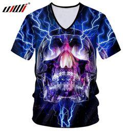 t shirt flashing light 2019 - Ujwi T Shirts Hombre Fashion V-neck Short Sleeve 3d Tshirt Printed Flash Light Skulls Casual 5xl 6xl Attire Men Spring T