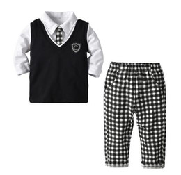 Kids tie shirts online shopping - Gentleman Boy Kids Piece Sets Clothing Baby Spring turn down collar Long sleeve Shirt Plaid Pant Vest Tie Spring fall boy clothing sets