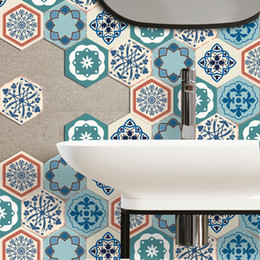 Diy Kitchen Designs Australia - Waterproof PVC Hexagon Sticker DIY Self Adhesive Tile Art Wall Decal 3D Pattern Sticker Kitchen Bathroom Anti-slip Floor Stickers 6pcs lot