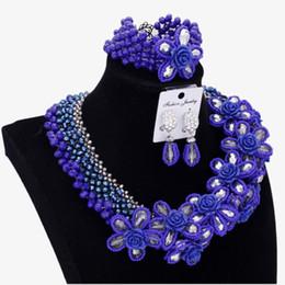$enCountryForm.capitalKeyWord Australia - Fashion Jewelry Sets Womens Accessories Royal Blue Silver Flowers African Bridal Jewellery Nigerian Wedding Beads Set 2018 New