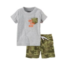 $enCountryForm.capitalKeyWord Australia - Awesome Dude Little Boy Clothes Suit Tee Shirts + Camouflage Short Pants 2PCS Sets Grey Camo Outfits Kiddie's Cotton Sets Tops Jumpsuits