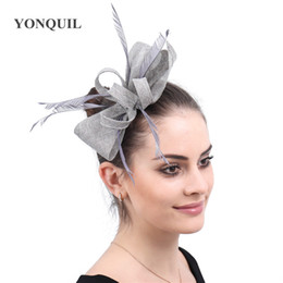 hats gray hair Australia - Turquoise women fascinator church hats wedding copy sinamay chic bow headpiece ladies Cocktail decor with hair comb 19 colors free shipping