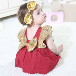 Wholesale girls opening clothes resale online - Baby Sequins Dresses Rompers Girls Dresses Small Flying Sleeves Open Back Bow Skirt Kids Leisure Clothes Girls Summer