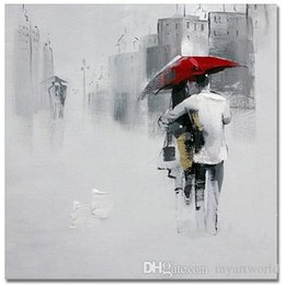 $enCountryForm.capitalKeyWord Australia - Lover under Red Umbrella Walking at Abstract City Street,Pure Hand Painted Modern Wall Decor Art Oil Painting Canvas.Multi sizes Ab029