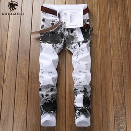 men s slim trousers Australia - Aolamegs Jeans Men Camouflage Print Fashion Denim Pants Harajuku Casual Slim Fit Trousers Spring High Street Casual Streetwear