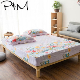 double beds mattresses UK - Papa&Mima 100 Cotton Fitted Sheet quilted Mattress Cover for Single Double Full Bed