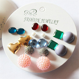 Mix Match earrings online shopping - New fashion women s jewelry girl party pearl studs beautiful mix and match pairs set earrings gift agent shipping
