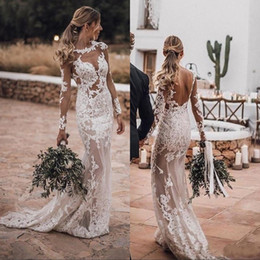 Wholesale sexy open back t shirts for sale – custom 2019 Sexy Beach Long Sleeves Sheer Wedding Dresses Mermaid Crew Neck Open Back Applique Lace Plus Size Bohemian Bridal Gowns