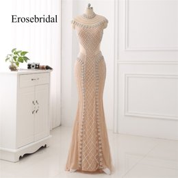 cowl neck long evening dresses 2021 - High Collar 2018 Mermaid Evening Dress Beaded Long Evening Gown Sexy Beading Illusion Back Robe De Soiree In Stock Y1904