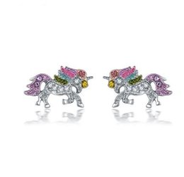 Cartoon Ear Studs NZ - New Arrival Unicorn Valentine's Day Gift Earrings Cartoon Pony Ear Studs Jewelry Retail And Wholesale Free Shipping