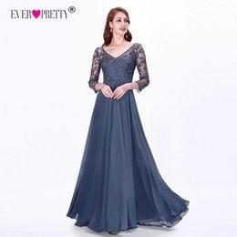 Empire Lace Applique Dress Australia - Sexy Long Sleeve Evening Dresses 2019 Ever Pretty Ez07633 Women's Cheap Lace Appliques V-neck Formal Elegant Party Dresses Y19051401