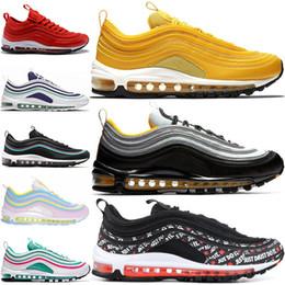 reputable site dfe64 4292b Nike Air max 97 Vente en gros pas cher 97 Chaussures de course Steelers  Mustard Just Do It Gym Red Rainbow South Beach baskets de marque pour hommes