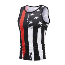 $enCountryForm.capitalKeyWord UK - Men's Vest tank top Summer USA Flag 3D Print Slim Fit Sleeveless Singlet canotta bodybuilding Top fitness homme gym clothingW410