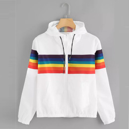 sports blouse NZ - Girls Casual Sports Jacket Womens Long Sleeve Rainbow Patchwork O Neck Sweatshirt Hooded Overcoat Blouse chaquetas mujer -