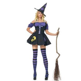 Wholesale adult halloween witch costumes online – ideas Womens Sexy Witch Costume Deluxe Magic Moment Party Witch Dress Adult Halloween Costumes Carnaval Fancy Dress With Hat