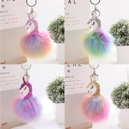 $enCountryForm.capitalKeyWord Australia - Fluffy Metal Alloy Unicorn Pom Keychain Pendant Cute Artificial Rabbit Fur ball Key Chain Bag Car Key Ring Hang Bag 9cm