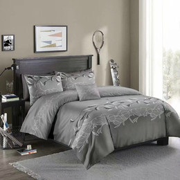 White Single Beds Australia - American Style Bedding Sets Duvet Cover Set Grey Leaf Bed Sets Pillowcase Single Double Queen King Quilt Cover No Filling