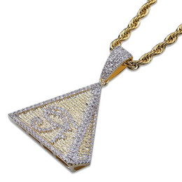 gold horus pendant Australia - Micro Inlaid Zircon Gold Color Plated Pyramid Horus Eye Pendant Necklace Mens Bling Jewelry Christmas Gift