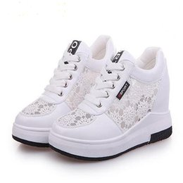 Breathable Cutout Shoes NZ - New summer lace mesh face breathable inside female casual mesh shoes Women Cutouts Lacel heighten shoes size 35-39