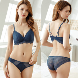 saw types NZ - 3 Colors Women Wave Lace Sexy Back Closure Wire Free Design Unlined See Through Brief Bra Sets Types Underwear Chest Wrap Lingerie Set ne1