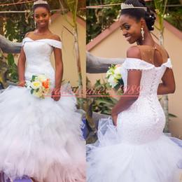 $enCountryForm.capitalKeyWord UK - Charming Plus Size 2020 Bride Dress Mermaid Country Beads Sequins Nigerian Wedding Dresses African Tulle Tiered Bridal Gown Vestido de novia