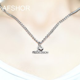 Gymnastics Pendants Australia - 2019 New Fashion Heart Necklace I Love Gymnastics Pendant With 45 cm Long Chain Charms Jewelry Necklace For Women Female Best Gift Wholesale