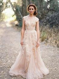 $enCountryForm.capitalKeyWord Australia - Pink Lace Bridal Gowns 2019 Sexy V-neck Long Tulle Wedding Dresses Cap Sleeves Floor Length Applique A line Big Day Vestido de novia