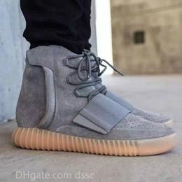 Boot Grey Australia - Kanye West 750 Boots Mens Glow Dark Light Grey Triple Black High Ankle Sport Shoes Women Sneaker Skateboard Size 36-46
