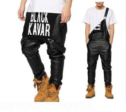 urban swag clothes Australia - New Arrival Fashion Man Women Mens Hiphop Hip Hop Swag Black Leather Overalls Pants Jogger Urban Clothes Clothing Justin Bieber