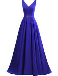 $enCountryForm.capitalKeyWord Canada - Sexy V Neck Prom Dresses A Line Sleeveless Royal Blue Satin Formal Evening Party Gowns Long Floor Length Beaded Sash robes de soirée