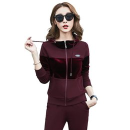 $enCountryForm.capitalKeyWord UK - Women's 2 Piece Sport Suit Long Sleeve Jacket With Hood And Full Zipper Long Pants #15820 Blue Black Wine Red