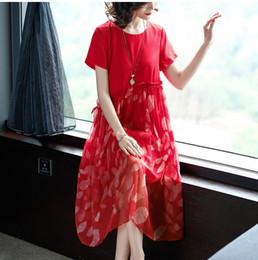 d3a50cf4364509 Elegante schöne schräge geraffte bowtie kordelzug taille floral bedruckte  frauen dress kurzarm lose rot casual kleider