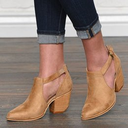 cutout summer boots 2019 - New Booties Tips Thick Heel Cutout Ankle Boots Suede Woman Boots Motorcycle Brand Designers Round Toe Summer Shoes cheap