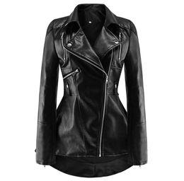$enCountryForm.capitalKeyWord Australia - Black PU Leather Motorcycle Jacket Women Autumn Top Fashion Hot Sale Outerwear Zipper Cool Slim Fitness Female Goth Casual Coat