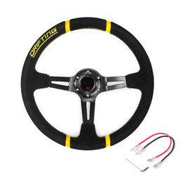 Hot 350mm 14inch PVC Leather Deep Dished Steering Wheel Sport Racing Yellow Alloy Rally Drifting Racing Steering Wheel on Sale