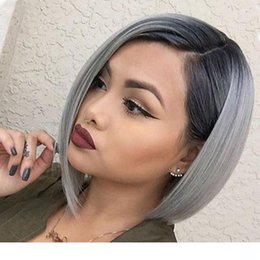 human hair grey lace front wigs Canada - A Full Lace Human Hair Wigss Straight Hair Grey Ombre Dark Root Short Bob Glueless 1b Silver Gray Lace Front Wigs With Baby Hair