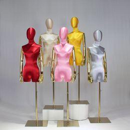 Fashion Model Props Female Half Length High End Silk Satin Gold Arm Mannequin Wedding Dress Display Rack Window Display Platform on Sale