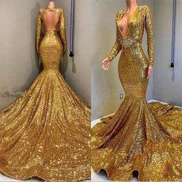 6c090709 Luxury Gold Sequin Prom Dresses with Long Sleeves Sexy Deep V Neck Open  Back Mermaid Evening Dress Women Arabic Party Gowns