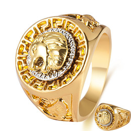 gold animal rings for men 2019 - Vintage Charm Gold Color Classic Punk Rock Hip Hop Finger Rings for Men Cool Male Lion Head Animal Ring Fashion Hand Jew