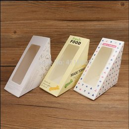 $enCountryForm.capitalKeyWord Australia - hot sale 500pcs Kraft Paper Clear Window Sandwiches Packaging Boxes Bakery Cake Bread Boxes Food Packaging