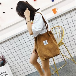 Wholesale Wenyujh Solid Corduroy Shoulder Bags Environmental Shopping Bag Tote Package Crossbody Bags Purses Casual Handbag For Women