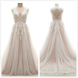 Vintage Dress For Muslim Australia - Champagne Vintage Lace Wedding Dresses 2019 A Line Tulle Summer Beach Garden Wedding Bridal Gowns with Lace Appliqued Gowns For Wedding
