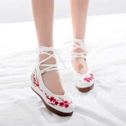 Cotton Floral Lace Fabric Australia - Women Embroidery Shoes Mary Jane Dance Shoes Lace Up Peach Blossom Cotton Shoes Casual Bandage Wedges Comfortable Walking Wedge