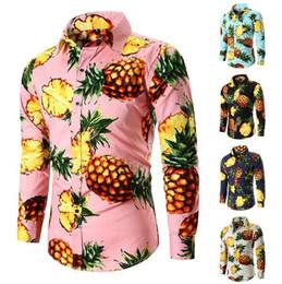 a8fab91b60ea7 Pineapple Shirts NZ - New Amazon Blockbuster Pineapple Printed Men s  Leisure Long Sleeve Shirt in Ouyard