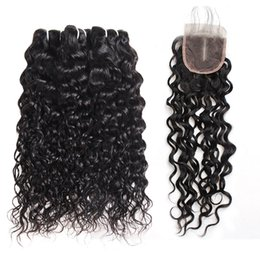 "deep wave weaving hair 2019 - Brazilian Deep Loose Water Wave 3 4Bundles With Lace Closure 8-28"" Straight Human Hair Bundles with Closure discoun"