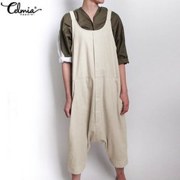 $enCountryForm.capitalKeyWord Australia - Celmia S-5XL Women Vintage Linen Jumpsuits Summer Sleeveless Strap Long Rompers Solid Loose Dungarees Harem Pant Casual Overalls