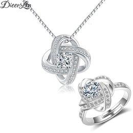 Jewelry Sets Rhinestone 925 Australia - DIEERLAN 2019 Trendy Fashion Wedding Jewelry Sets Rhinestone 925 Sterling Silver Crystal Cross Necklaces Rings for Women Bijoux