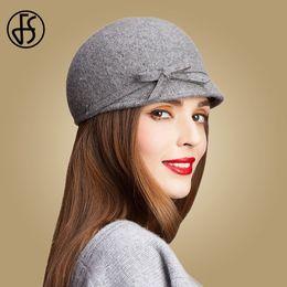 be8ef3c0b097b FS Vintage 100% Wool Fedora Floppy Bowknot Winter Felt Hats For Women Grey  Black Navy Knight Top Caps Casual Chapeu Feminino D19011102